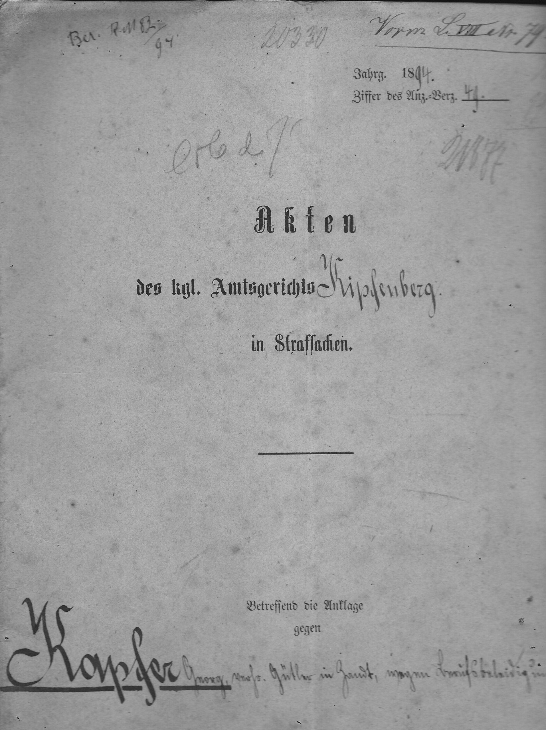10 Gericht Aktendeckel 1894 Org Ettle