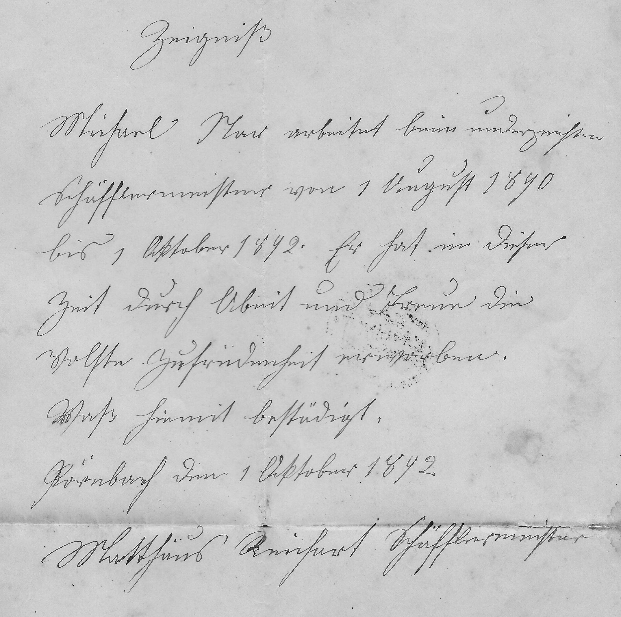 16 bNar Zeugnis Pörnbach 1892