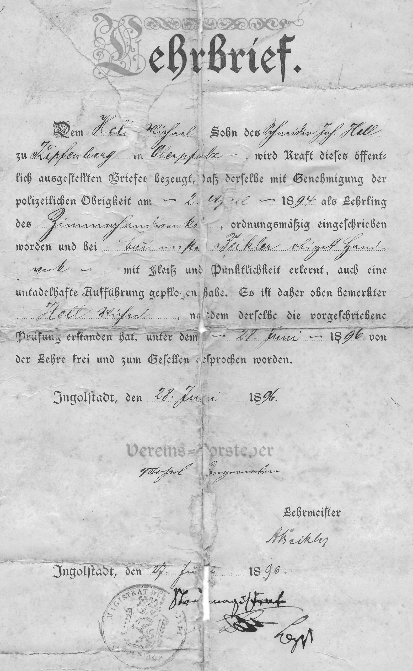 10 Hell Mich Lehrbrief 1896