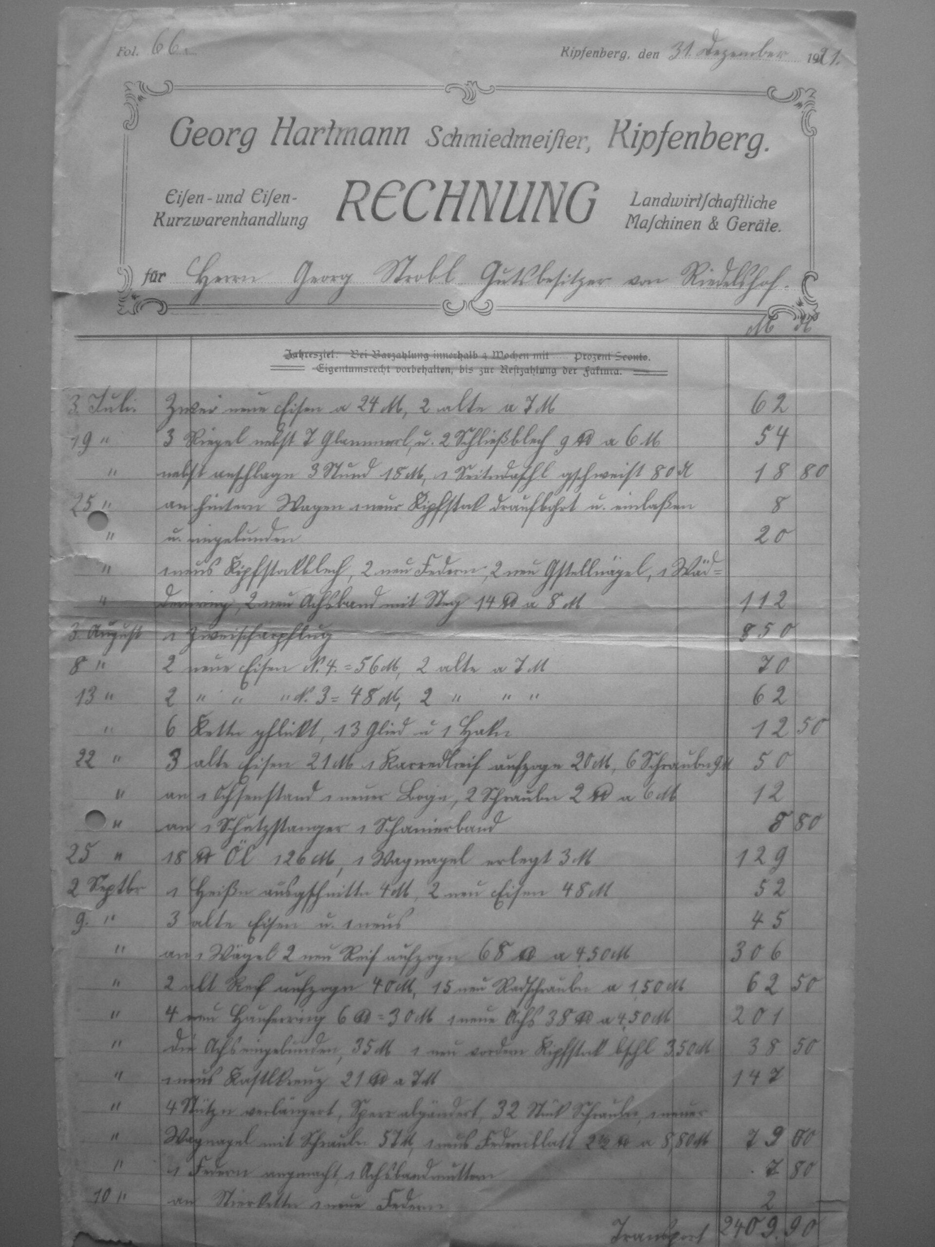20 Hartmann Rechnung